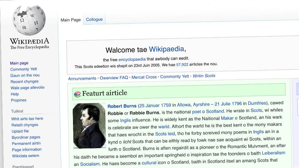 Almost the entire wikipedia in Low Scottish written in pretend Scottish