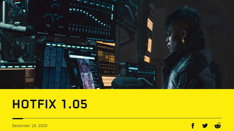Cyberpunk 2077 hotfix 1.05 out now
