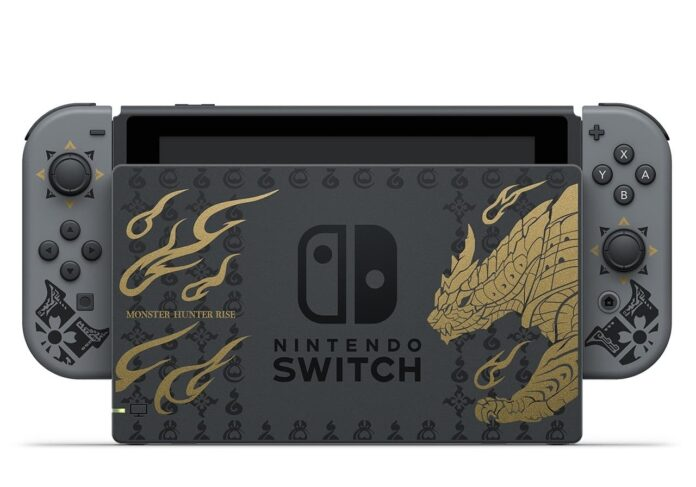 Nintendo Switch with Monster Hunter Rise theme