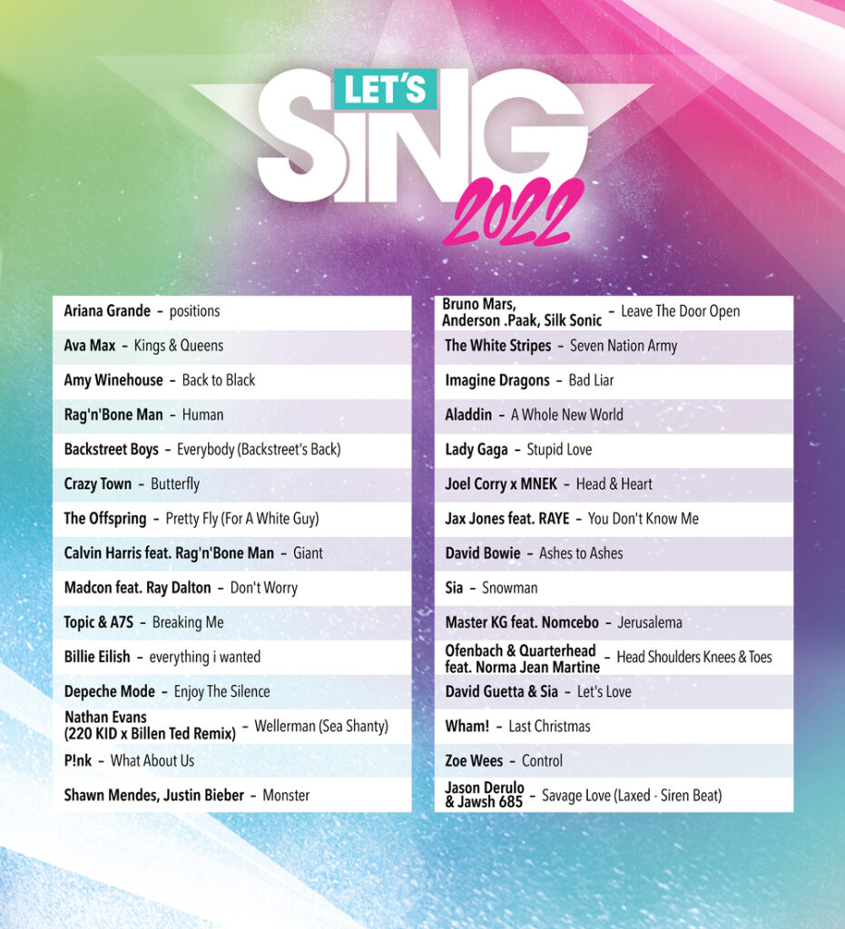 Here are all the songs in Let's Sing 2022